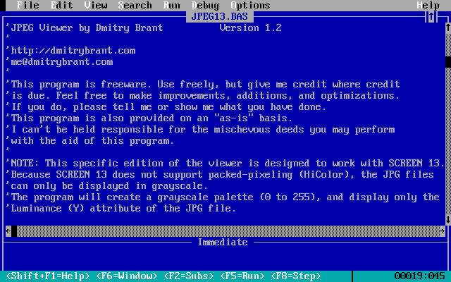 A JPEG Viewer for QBasic – Dmitry Brant